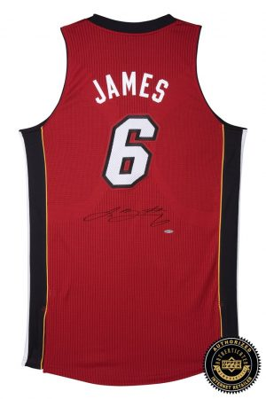 LeBron James Signed Miami Heat Authentic ADIDAS Red Alternate Jersey-0