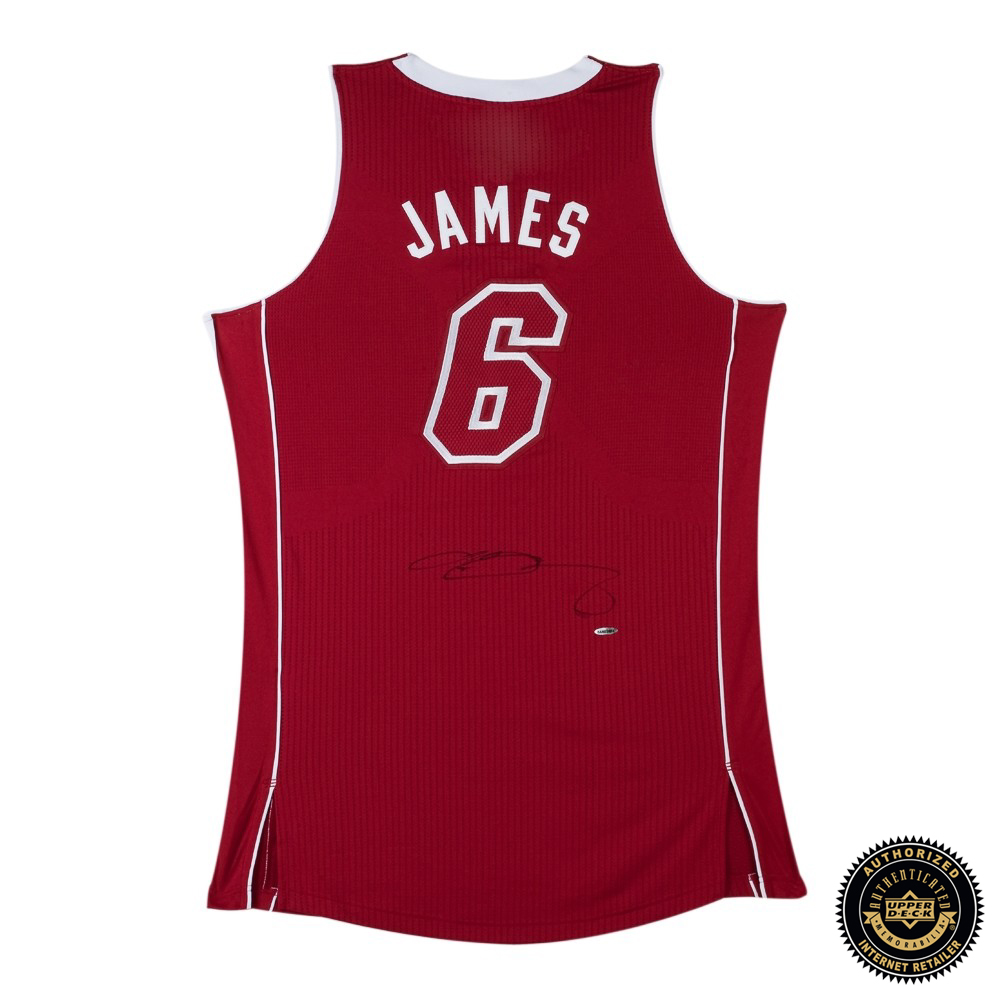 new concept 0ff69 321dc LeBron James Signed Miami Heat Red Authentic Pride Jersey
