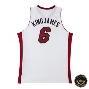LeBron James Signed Miami Heat White Swingman Nickname Jersey-0