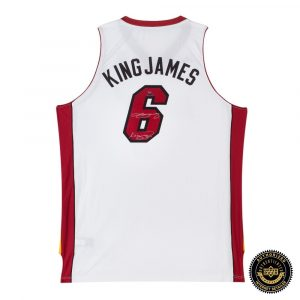 "LeBron James Signed Miami Heat White Swingman Nickname Jersey with ""King James"" Inscription-0"