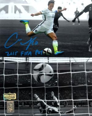 "Carli Lloyd Signed US Women's Soccer 8x10 Scoring Spotlight Photo with ""2015 FIFA POY"" Inscription-0"