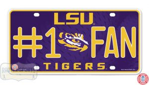 LSU Tigers #1 Fan Officially Licensed NCAA Metal License Plate-0