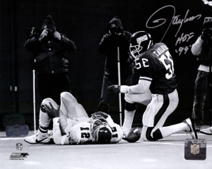 "Lawrence Taylor Signed New York Giants Black & White 8x10 Photo with ""HOF 99"" Inscription-0"