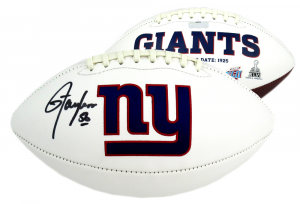 Lawrence Taylor Signed New York Giants Embroidered NFL Logo Football-0