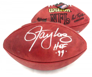 """Lawrence Taylor Signed New York Giants Authentic Football with """"HOF 99"""" Inscription-0"""