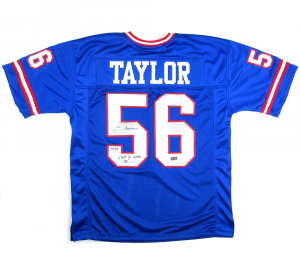 "Lawrence Taylor Signed New York Giants Blue Custom Jersey with ""Last to Wear 56"" Inscription - LE-0"