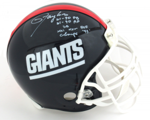 Lawrence Taylor Signed New York Giants Riddell Authentic NFL Helmet with Career Stats Inscription and LT's Facemask-0