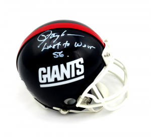 "Lawrence Taylor Signed New York Giants Throwback Mini Helmet with ""Last to Wear 56"" Inscription - LE #1/56-0"
