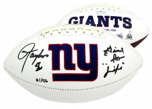 """Lawrence Taylor Signed New York Giants Embroidered Logo Football With """"Giant for Life"""" Inscription - LE #1/56-0"""