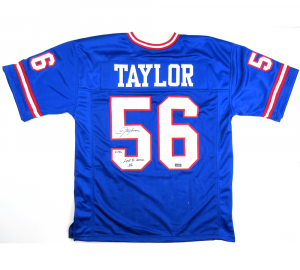 "Lawrence Taylor Signed New York Giants Blue Custom Jersey with ""Last to Wear 56"" Inscription - LE #1/56-0"