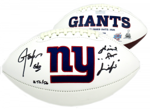 """Lawrence Taylor Signed New York Giants Embroidered Logo Football With """"Giant for Life"""" Inscription - LE #56/56-0"""
