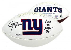 """Lawrence Taylor Signed New York Giants Embroidered Logo Football with """"Last to Wear 56"""" Inscription - LE #56/56-0"""