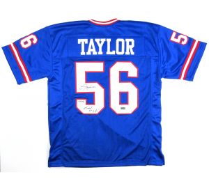 "Lawrence Taylor Signed New York Giants Blue Custom Jersey with ""Giant for Life' Inscription - LE #56/56-0"