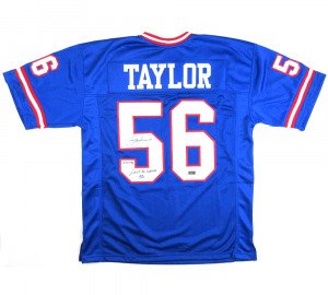 "Lawrence Taylor Signed New York Giants Blue Custom Jersey with ""Last to Wear 56"" Inscription - LE #56/56-0"