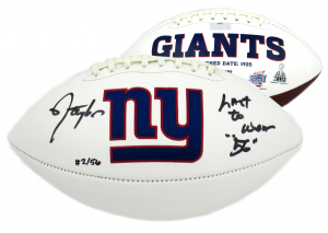 """Lawrence Taylor Signed New York Giants Embroidered Logo Football with """"Last to Wear 56"""" Inscription - LE-0"""