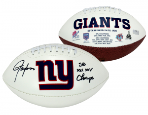 """Lawrence Taylor Signed New York Giants Embroidered NFL Logo Football with """"SB Champs"""" Inscription-0"""