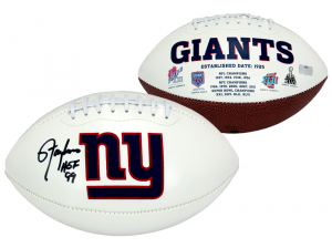 """Lawrence Taylor Signed New York Giants Embroidered NFL Logo Football with """"HOF 99"""" Inscription-0"""