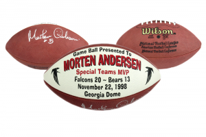 Morten Andersen Signed Authentic Commemorative Game Football - Atlanta Falcons 11.22.98-0