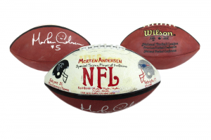Morten Andersen Signed Authentic Hand Painted Game Football - Atlanta Falcons 10.1.95-0