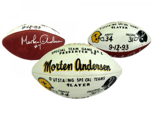 Morten Andersen Signed Authentic Hand Painted Game Football - New Orleans Saints 9.12.93-0