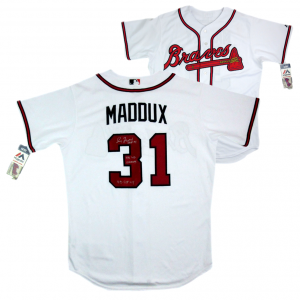 Greg Maddux Signed Atlanta Braves Majestic Authentic MLB Jersey with 3 Career Stats Inscription - #3-0