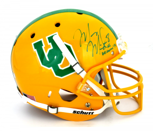 "Marcus Mariota Signed Oregon Ducks Schutt Full Size Throwback Helmet with ""Heisman 14"" Inscription-0"