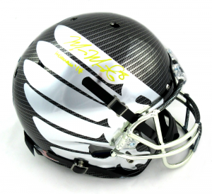 "Marcus Mariota Signed Oregon Ducks Schutt Full Size Carbon Fiber Wing Helmet with ""Heisman 14"" Inscription-0"