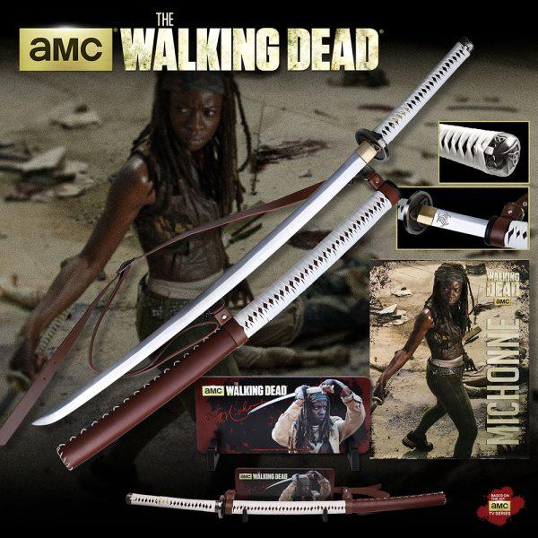 Officially Licensed Walking Dead Michonne Samurai Sword Katana w/ Wall Mount-9683