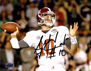 AJ McCarron Signed Alabama Crimson Tide 8x10 NCAA Photo - White Jersey-0