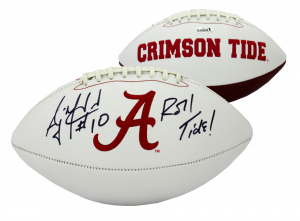 A.J. McCarron Autographed/Signed Alabama Crimson Tide Logo Football with Roll Tide Inscription-0