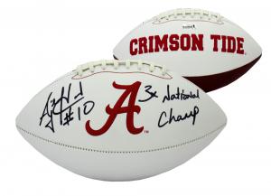 "AJ McCarron Signed Alabama Crimson Tide Embroidered NCAA Logo Football with ""3x National Champ"" Inscription""-0"