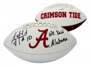 "AJ McCarron Signed Alabama Crimson Tide Embroidered NCAA Logo Football with ""We Own Alabama"" Inscription""-0"