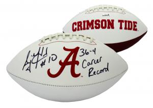 "AJ McCarron Signed Alabama Crimson Tide Embroidered NCAA Logo Football with ""36-4 Career Record Inscription""-0"