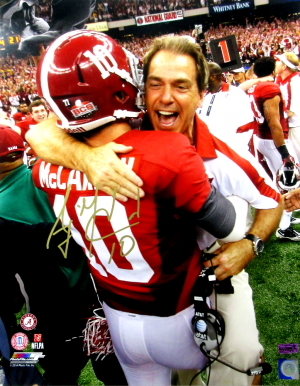 AJ McCarron Signed Alabama Crimson Tide 8x10 NCAA Photo - with Saban-0