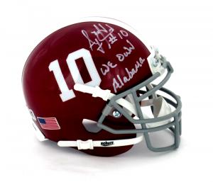 "AJ McCarron Signed Alabama Crimson Tide Schutt #10 Mini Helmet with ""We Own Alabama"" Inscription-0"