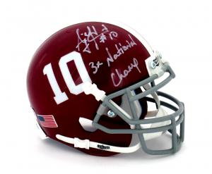 "AJ McCarron Signed Alabama Crimson Tide Schutt #10 Mini Helmet with ""3x National Champ"" Inscription-0"
