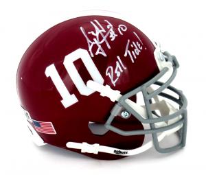 "AJ McCarron Signed Alabama Crimson Tide Schutt #10 Mini Helmet with ""Roll Tide"" Inscription-0"