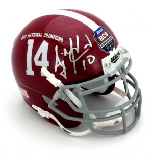AJ McCarron Signed Alabama Crimson Tide Schutt 2011 BCS Commemorative Mini Helmet-0