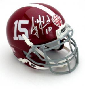 AJ McCarron Signed Alabama Crimson Tide Schutt 2012 BCS Commemorative Mini Helmet-0