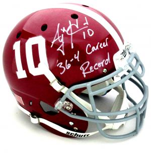 "AJ McCarron Signed Alabama Crimson Tide Schutt Authentic NCAA Helmet with ""36-4 Career Record"" Inscription-0"
