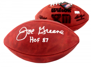 "Joe Greene Signed Wilson Authentic Super Bowl 13 NFL Football with ""HOF 87"" Inscription - Pittsburgh Steelers-0"