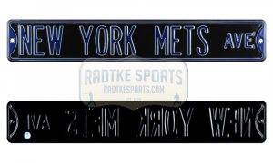 New York Mets Avenue Officially Licensed Authentic Steel 36x6 Blue & Black MLB Street Sign-0