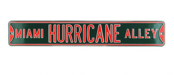 Miami Hurricane Alley Officially Licensed Authentic Steel 36x6 Green & Orange NCAA Street Sign-17064