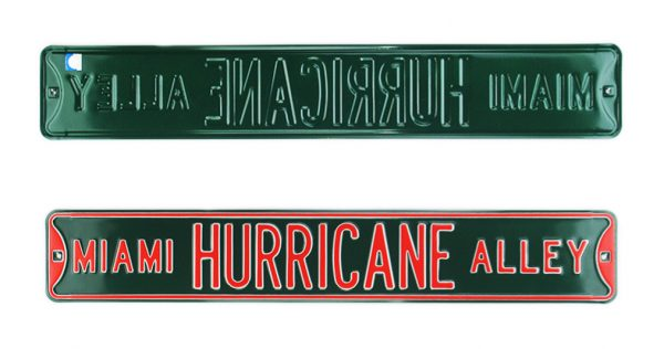 Miami Hurricane Alley Officially Licensed Authentic Steel 36x6 Green & Orange NCAA Street Sign-0