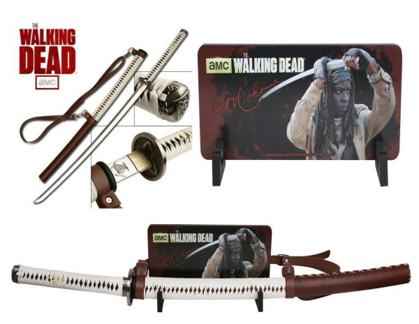Officially Licensed Walking Dead Michonne Samurai Sword Katana w/ Wall Mount-9682