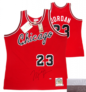 Michael Jordan Signed Chicago Bulls Mitchell & Ness Vintage Rookie Season NBA Basketball Jersey - UDA-0