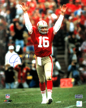 Joe Montana Signed San Francisco 49ers 16x20 NFL Photo - Celebrating-0
