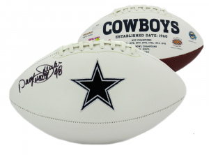 "Daryl Johnston Signed Dallas Cowboys NFL Logo Football with ""Moose"" Inscription-0"