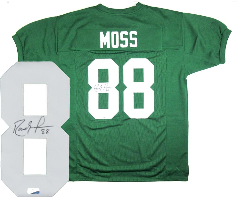 Randy Moss Signed Marshall Thundering Herd Throwback Green Custom Jersey