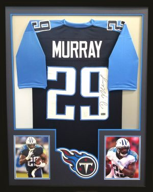 DeMarco Murray Signed Framed Tennessee Titans Navy Blue Custom Jersey-0